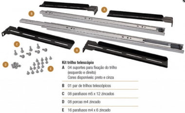 "Kit Trilho Telescópico Para Rack 19"" - Nilko"
